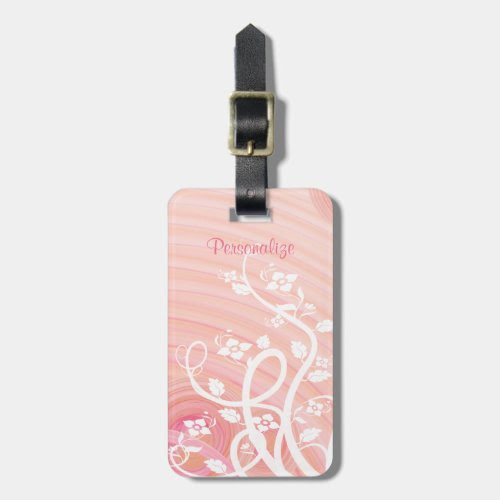 Peach Spirals, Filigree and Flowers Tags For Bags
