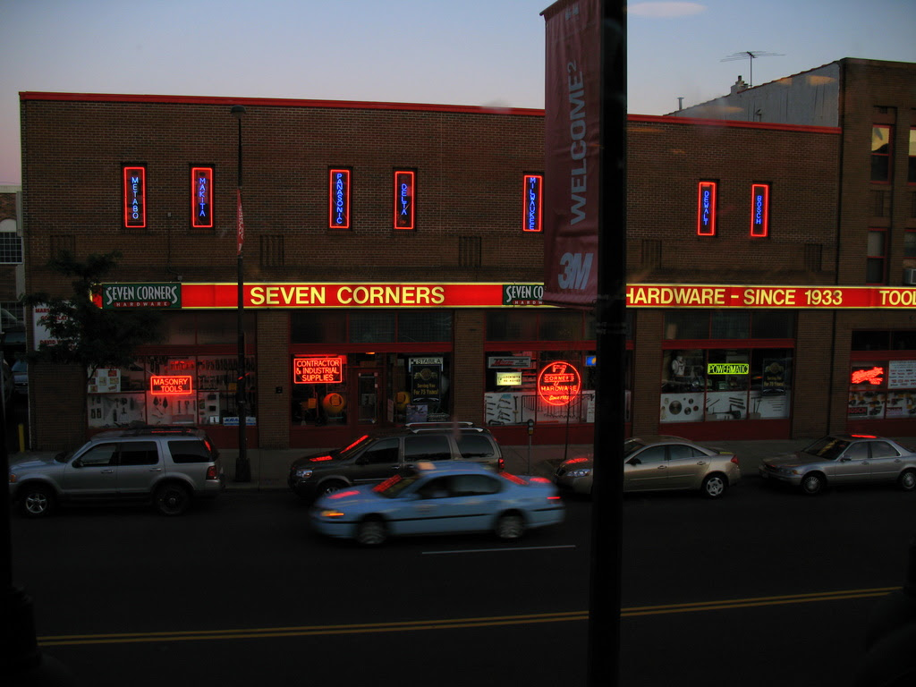 A nighttime view of the historic Seven Corners Hardware Store in St Paul, Minnesota.