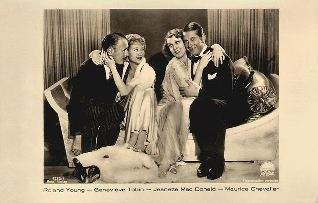 Roland Young, Genevieve Tobin, Jeanette MacDonald, Maurice Chevalier