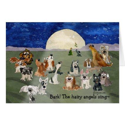 Funny Cartoon Dogs Moon Holiday Card