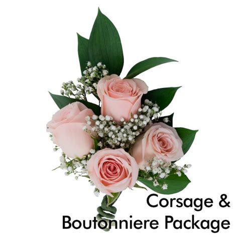 pink wedding corsage boutonniere package martins