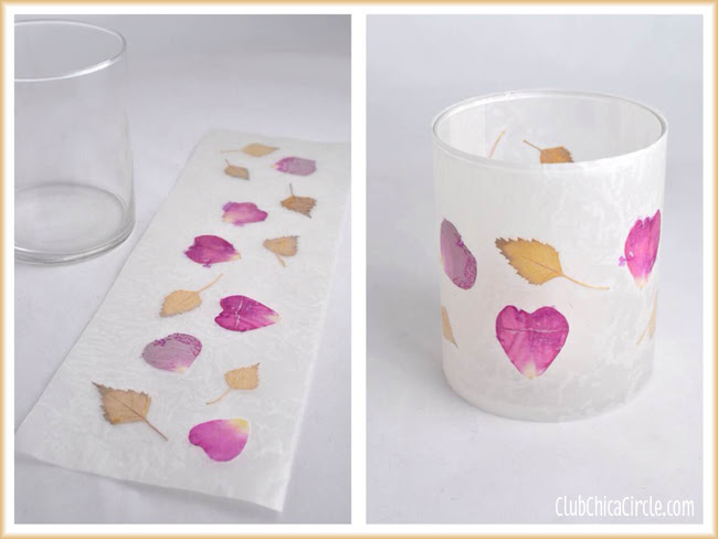 Nature wax paper votives DIY craft