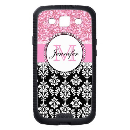Girly, Pink, Glitter Black Damask Personalized Galaxy SIII Case