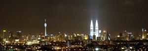 The skyline of Kuala Lumpur from Cheras at night.