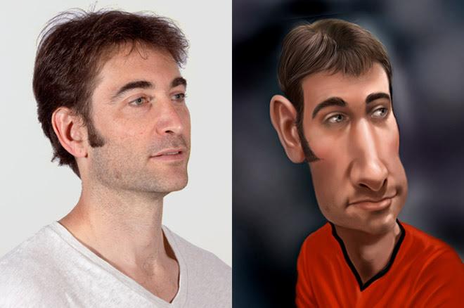 Daniel Almariei caricature of author Ben Austen