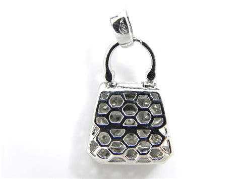 ladies  white gold diamond purse charm pendant bright