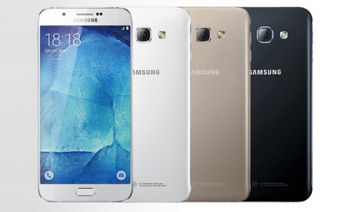 Here's an alleged press image of the Samsung Galaxy A8. <br> Image source: nowhereelse.fr