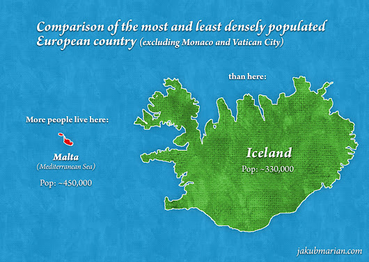 Comparison of Europe's most and least densely... - Maps on the Web