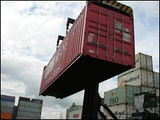 Container with BBC News logo