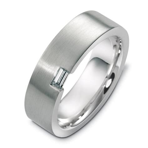 white gold mens brushed diamond band  seattle