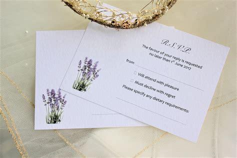 Lavender RSVP Cards and Envelopes   Wedding Stationery