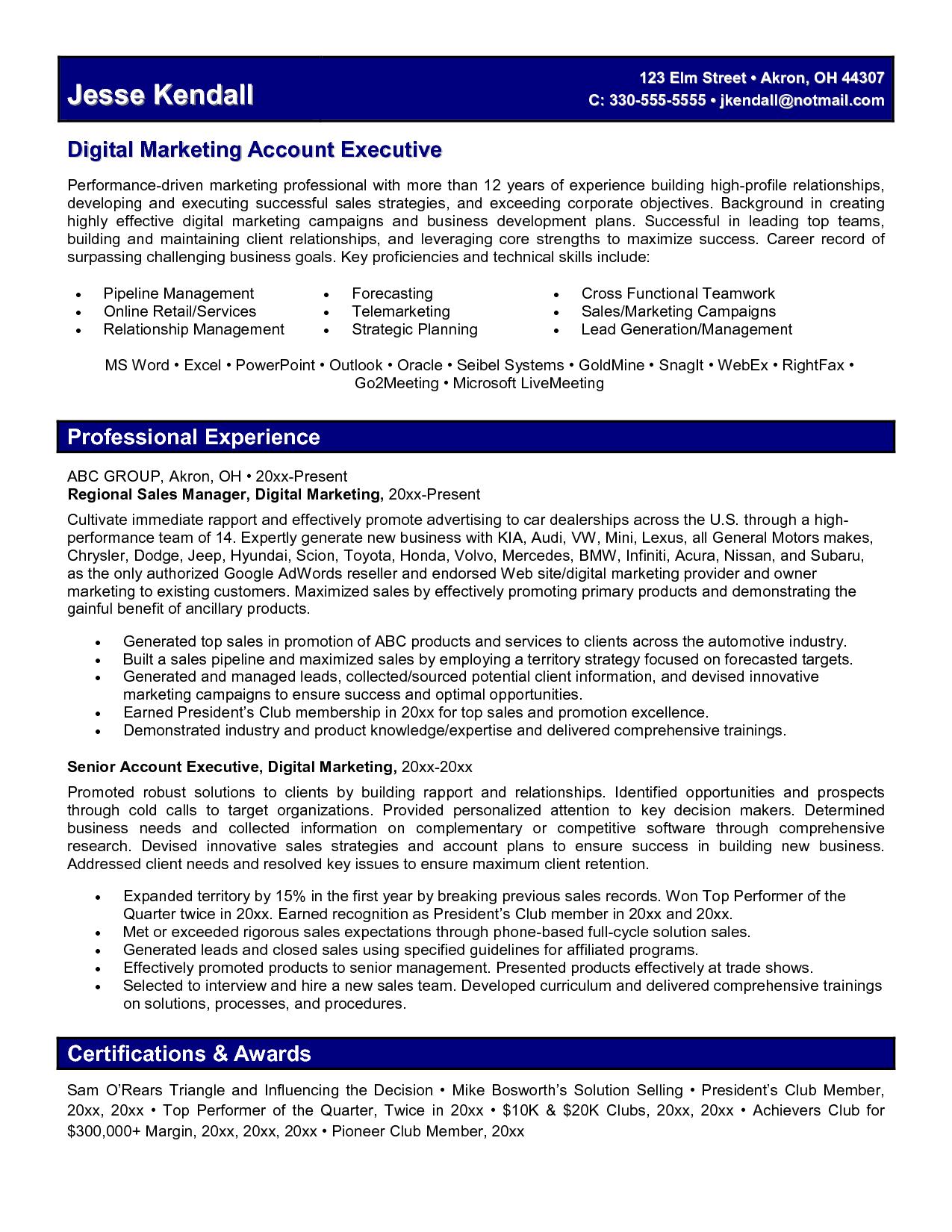 Digital Marketing Manager Resume Objective Best Resume Examples