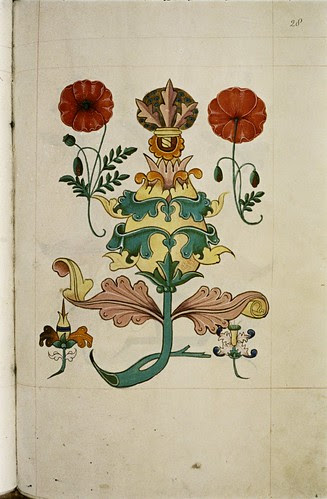 Stylised floral design. Stylised red poppies.