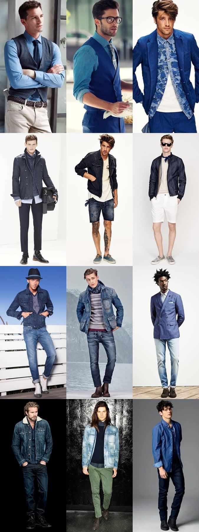Men's Denim Jeans, Shirts, Blazers, Coats, Bomber Jackets Outfit Inspiration Lookbook