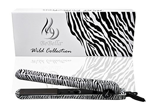"Bebella Luxury Wild Collection: Professional 1.25"" Pure Onyx Ceramic Plates Hair Straightener Flat Iron (Classic Zebra)"