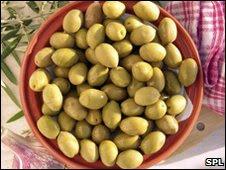 Prato com azeitonas