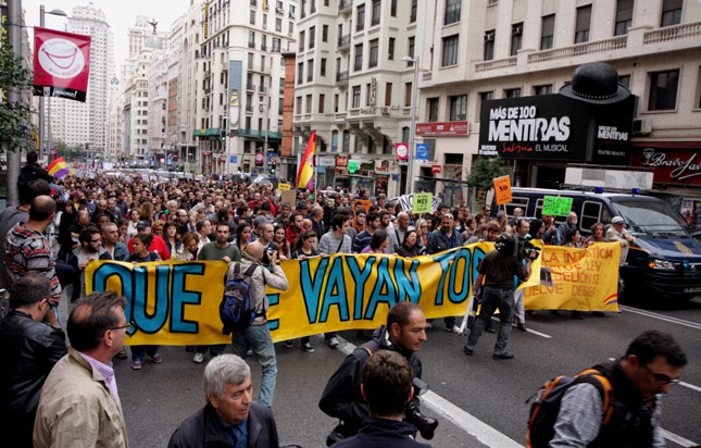 Paso de la cabecera de la marcha que partió de Plaza de España. Christian González