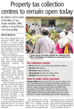 Pune Property tax collection centres to remain open today, 30th May 2010, Sunday