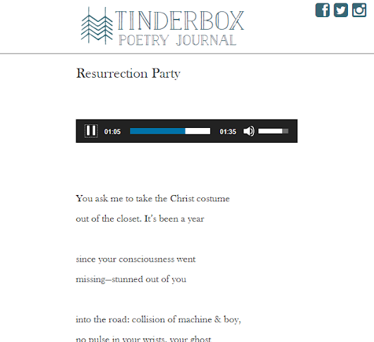"My poem ""Resurrection Party"" published in Tinderbox Poetry Journal"
