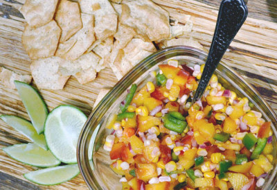 Lightly Roasted Peach and Corn Salsa Recipe — Clumsy Crafter
