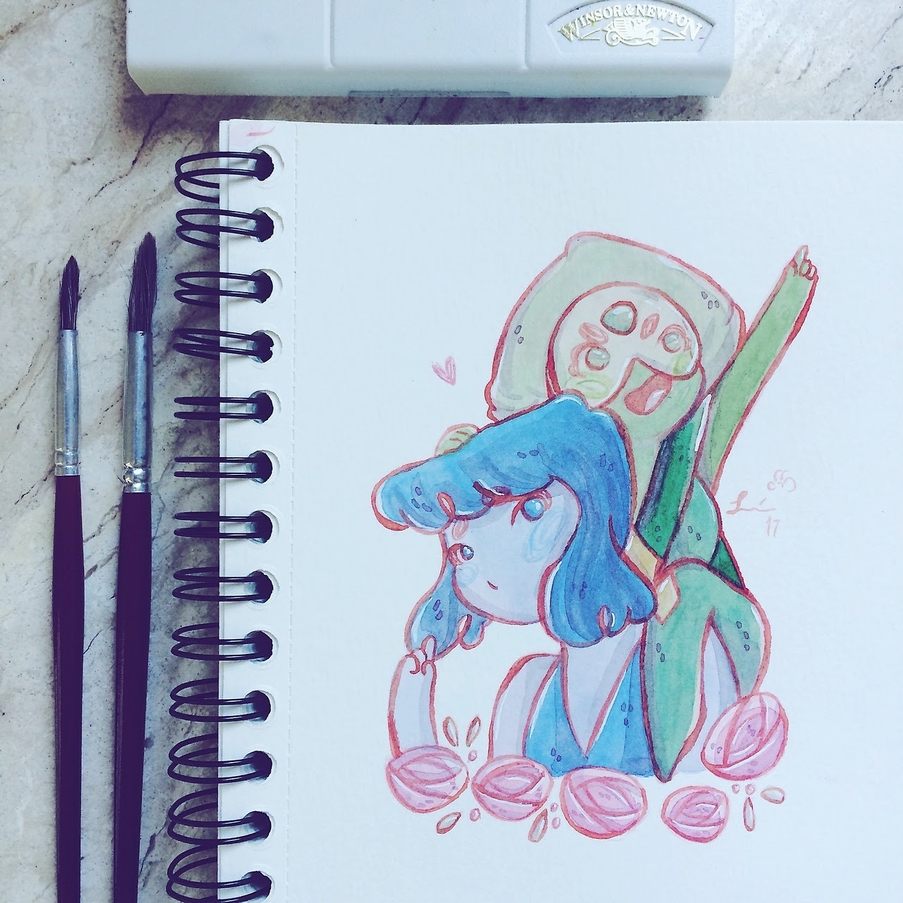 """""If I could begin to be Half of what you think of me I could do about anything I could even learn how to love… like you"" "" Some watercolors of Steven Universe lover I made a while ago :)"