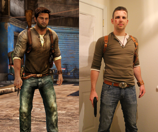 My Nathan Drake costume including my custom made leather holster, cuff, and belt. • /r/pics