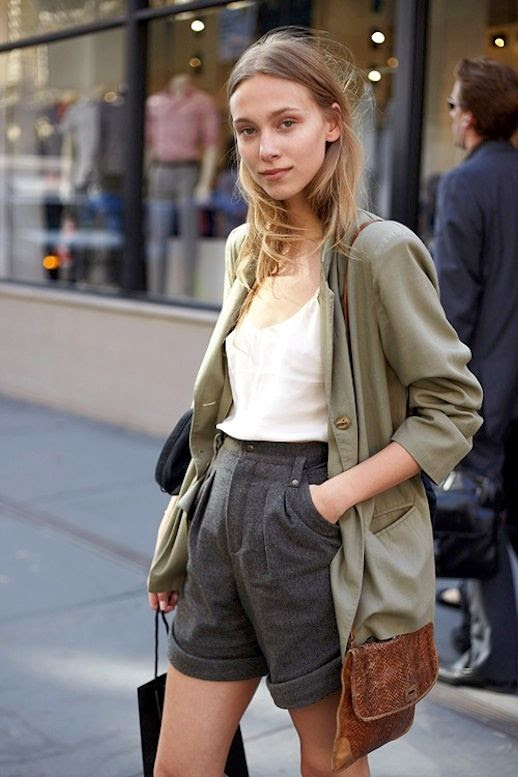 Le Fashion Blog Model off Duty Street Style Zuzanna Krzatala Green Blazer Silk Cami Bermuda Shorts Polished Spring Look photo Le-Fashion-Blog-Model-off-Duty-Street-Style-Zuzanna-Krzatala-Green-Blazer-Silk-Cami-Bermuda-Shorts-Polished-Spring-Look.jpg