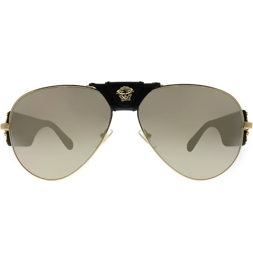 345cca9ea43 Versace VE 2150Q 10025A Gold Aviator Metal Sunglasses by Gaffos ...