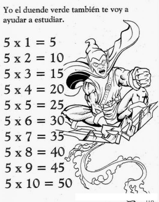 Tablas De Multiplicar Dibujo De La Tabla De Multiplicar Del 5 Para