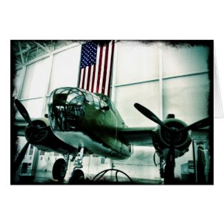 Patriotic Military WWII Plane with American Flag Greeting Card