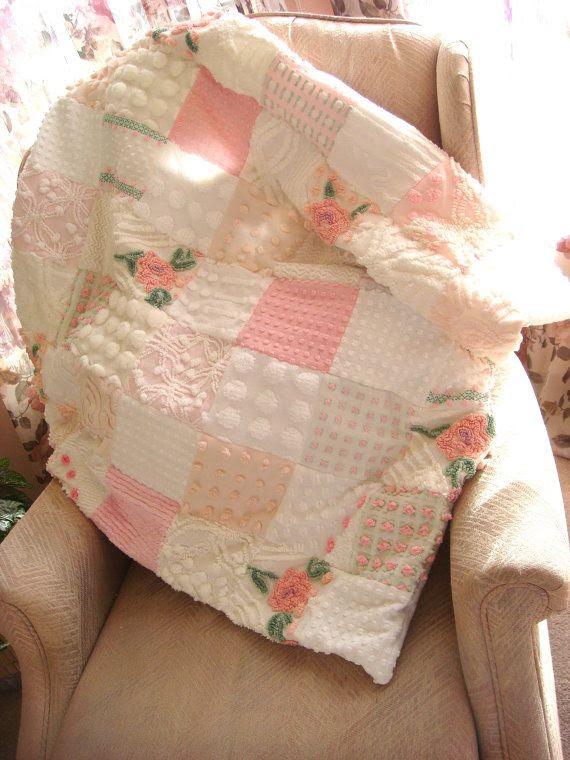 Pink Clouds Vintage Chenille Patchwork Quilt