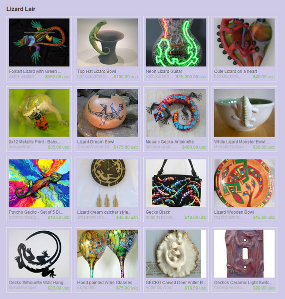 My Lizard Treasury on Etsy