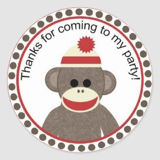 sock monkey party sticker