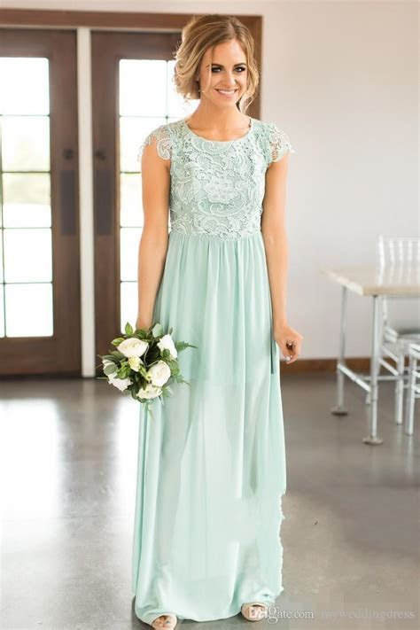 Ice Blue Bridesmaid Dresses Lace Top Country Wedding Guest