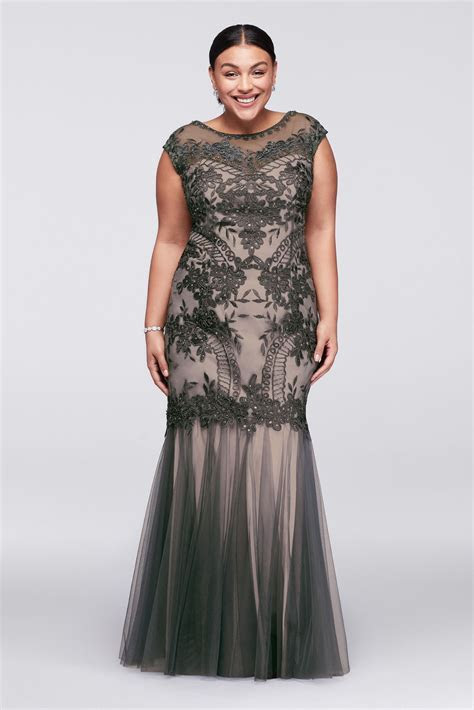 Appliqued Illusion Plus Size Gown with Tulle Skirt David's