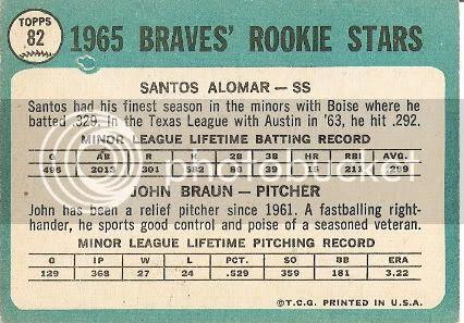 #82 Braves Rookie Stars: Santos Alomar and John Braun (back)