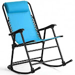 Outdoor Patio Headrest Folding Zero Gravity Rocking Chair-Turquoise - Color: Turquoise