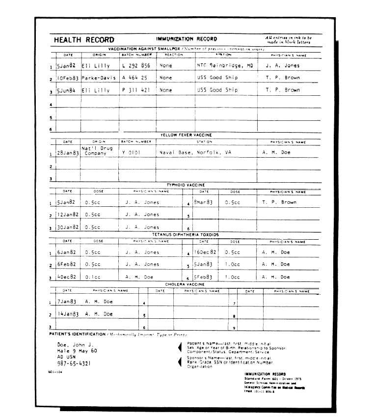 Gentes Donorte: Printable Immunization Record Form