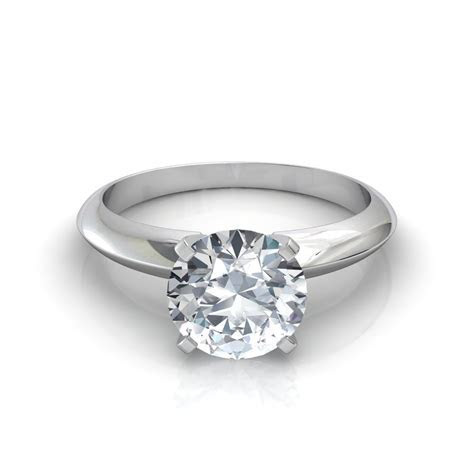 Knife Edge Round Cut Solitaire Engagement Ring