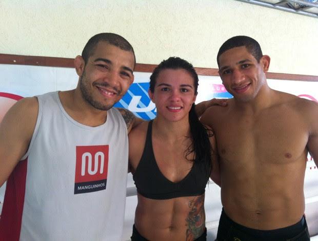 José Aldo, Cláudia Gadelha e Hacran Dias (Foto: Ana Hissa/SporTV.com)