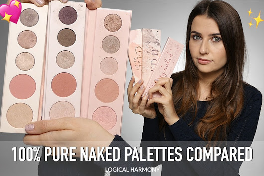 Comparing the 100% Pure Naked Palettes - Swatches of Pretty Naked, Pretty Naked 2 & Better Naked - Logical Harmony