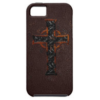 Brown and Orange Cross iPhone 5 Cases