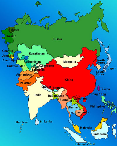 Volunteer in Asia Map