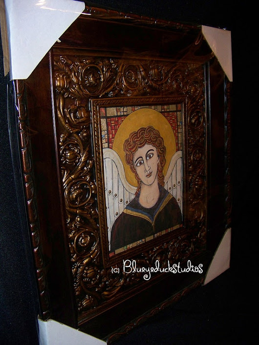 Byzantine Icon Saints Medieval Angel Collection mixed media set of 4 Professional Fine Art Giclee Framed Hagia Sophia