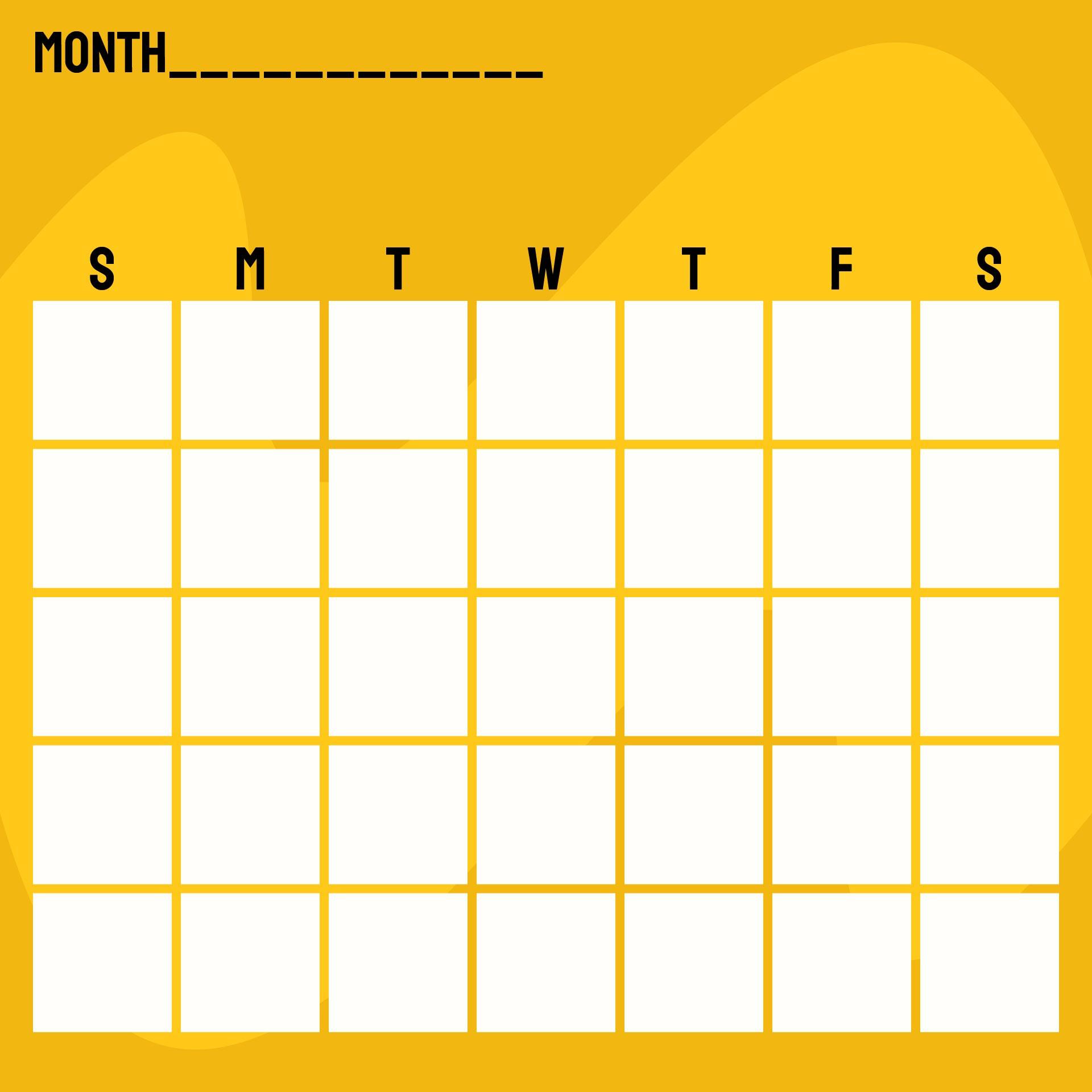 monthly calendar template kindergarten - Calendar