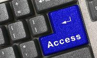 """Inclusive - Acessibilidade e tecnologia - um teclado cinza com a tecla """"Enter"""" substituida pela tecla """"Access"""", em azul"""