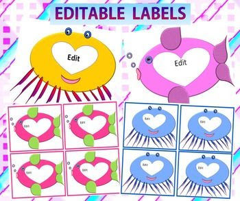 Fish Theme Labels- 33 pagesLabels and Name Tags - Editable Fish ...