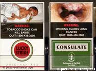 Cigarette packs in Singapore with shocking images