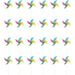 Juvale Pinwheels - Pack of 24, 15.5-Inch Polka Dot Pinwheels - Value Pack - Suitable as Kids Toy or Garden, Party, Outdoor, Yard, Decoration Multicolored, 1