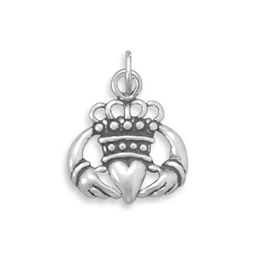 Claddagh Oxidized Sterling Silver Charm, Made in The USA
